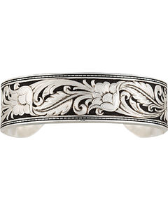 Montana Silversmiths Women's LeatherCut Floral Cuff Bracelet, , hi-res