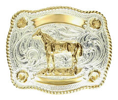M & F Western Kids' Fancy Horse & Banner Belt Buckle, , hi-res