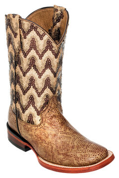 Ferrini Girls' Mocha Boa Print Western Boots - Square Toe, , hi-res