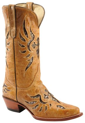 Ferrini Glitter Laser Inlay Cowgirl Boots - Snip Toe, Antique Saddle, hi-res