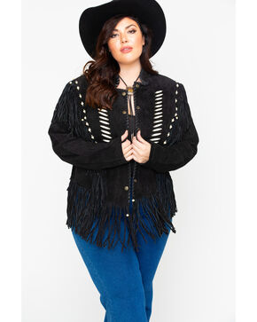 Liberty Wear Bone Bead & Fringe Leather Jacket - Plus, Black, hi-res