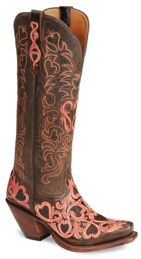 Tony Lama Signature Series Embroidered Hearts Cowgirl Boots - Snip Toe, Chocolate, hi-res