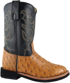 Smoky Mountain Toddler Boys' Shawnee Ostrich Print Western Boots - Round Toe, , hi-res