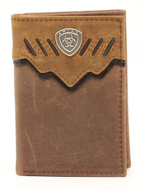 Ariat Trifold Shield Concho Tab Wallet, Med Brown, hi-res