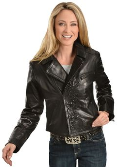 Scully Embossed Leather Jacket, , hi-res