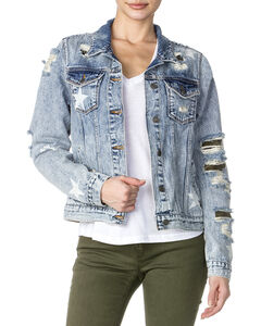 Miss Me Women's Destructed Denim Camo Jacket , , hi-res