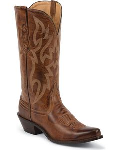 Nocona Brown Leather Cowgirl Boots - Snip Toe, , hi-res