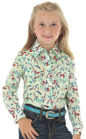 Wrangler Girls' Long Sleeve Steer Print Shirt, Multi, hi-res