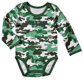 Wrangler Infant Boys' Long Sleeve Green Camo Bodysuit, Green, hi-res