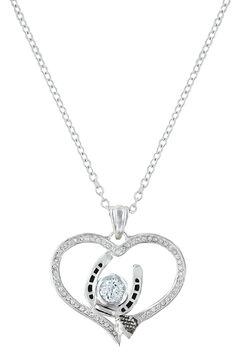 Montana Silversmiths Women's Blacksmith's Treasure Heart Necklace , Silver, hi-res