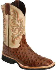 Justin AQHA Full Quill Ostrich Cowboy Boots - Square Toe, , hi-res