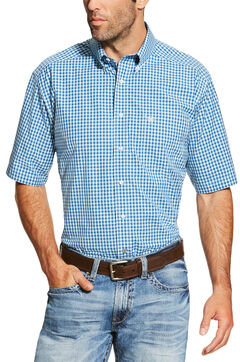 Ariat Men's Blue Mankins Short Sleeve Shirt - Big and Tall , , hi-res