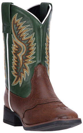 Laredo Boys' Green Vinny Cowboy Boots - Square Toe , Dark Brown, hi-res