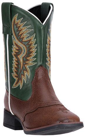 Laredo Boys' Green Vinny Cowboy Boots - Square Toe , Dark Brown, hi-res