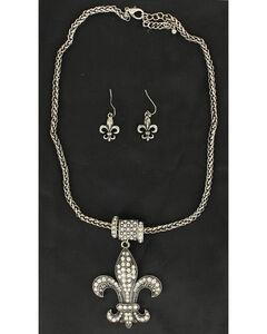 Blazin Roxx Rhinestone Fleur De Lis Necklace & Earrings Set, , hi-res