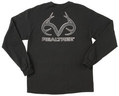Realtree Men's Black Carbon Fiber Logo Long Sleeve T-Shirt , Black, hi-res