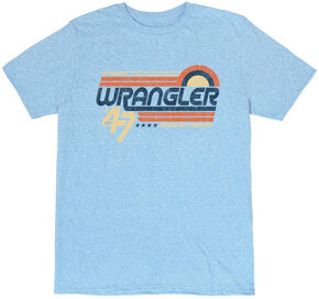 Wrangler Men's Light Blue Retro Wrangler Logo T-Shirt , Light Blue, hi-res