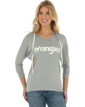 Wrangler Women's Grey Logo Hoodie , Grey, hi-res