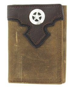 Nocona Distressed Leather Overlay & Star Concho Tri-fold Wallet, , hi-res