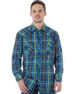 Wrangler 20X Men's Blue & Lime Plaid Shirt, , hi-res