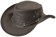 Outback Trading Co. Chocolate Wagga Wagga UPF50 Sun Protection Leather Hat, , hi-res