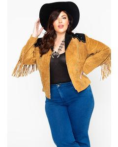 Liberty Wear Women's Suede Fringe Studded Jacket - Plus, , hi-res