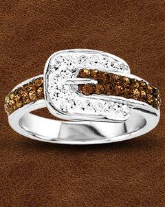 Kelly Herd Buckle Ring with Swarovski Crystals , , hi-res