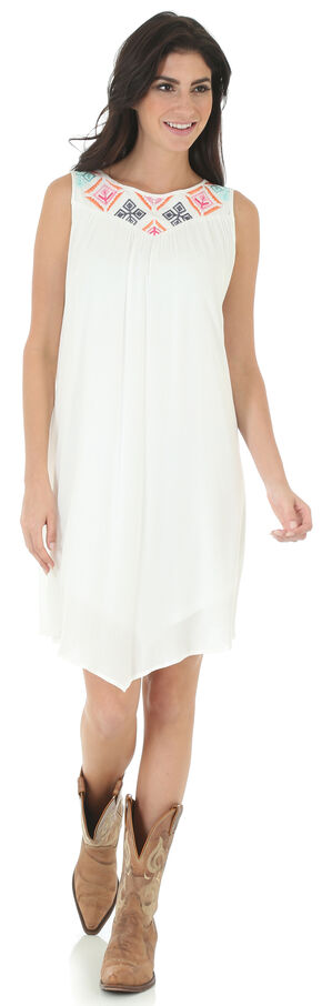 Wrangler Women's Applique Embroidered Sleeveless Dress, White, hi-res