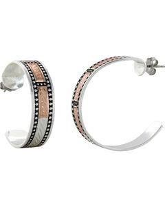 Montana Silversmiths Women's CrossCut Threaded Ribbon Hoop Earrings, , hi-res