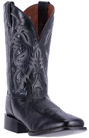 Dan Post Men's Black Smooth Ostrich Callahan Cowboy Boots - Broad Square Toe, Black, hi-res