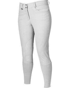 Dublin Active Signature Euro Seat Front Zip Breeches - White, White, hi-res