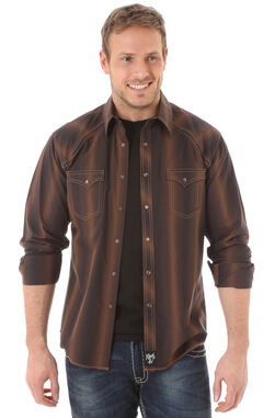 Wrangler Rock 47 Men's Brown Stipe Shirt, , hi-res