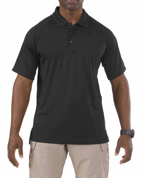 5.11 Tactical Performance Short Sleeve Polo Shirt - Tall Sizes (2XT - 5XT), Black, hi-res