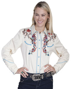 Scully Women's Colorful Horse Embroidered Long Sleeve Shirt, , hi-res