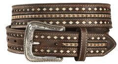 Nocona Men's Nailhead Ribbon Inlay Belt, , hi-res
