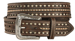 Nocona Men's Nailhead Ribbon Inlay Belt, Brown, hi-res