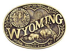 Montana Silversmiths Wyoming State Heritage Attitude Belt Buckle, , hi-res