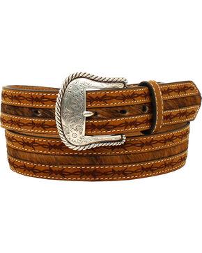 Nocona Men's Barbwire Edges Belt , Tan, hi-res
