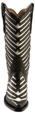 Justin White Inlay Deertan Cowgirl Boots - Snip Toe, Black, hi-res
