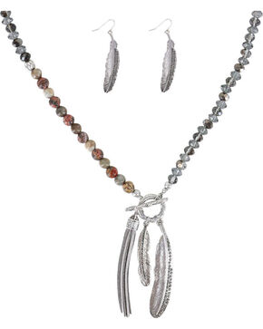 Shyanne Women's Feather and Fringe Jewelry Set, Silver, hi-res