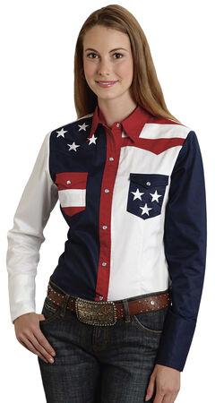 Roper Women's Stars & Stripes Colorblock Western Shirt, , hi-res