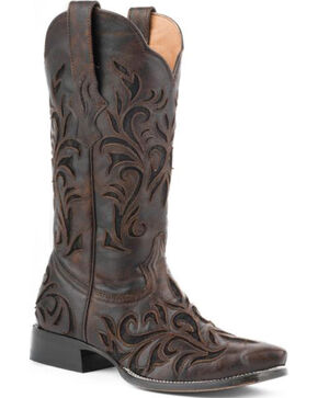 Stetson Filigree Cowgirl Boots - Snip Toe, Dark Brown, hi-res