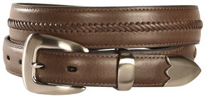Nocona Leather Stitched Belt, Brown, hi-res