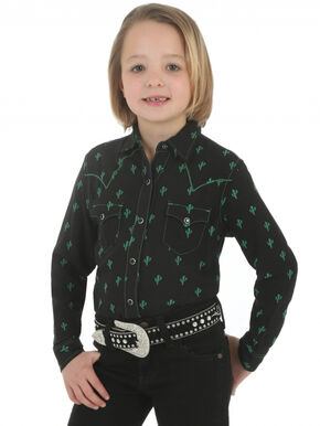 Wrangler Rock 47 Girls' Cactus Print Shirt, Black, hi-res