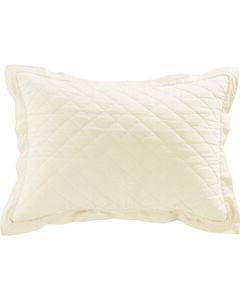 HiEnd Accents Diamond Pattern Quilted Cream Linen King Sham, , hi-res