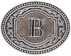 "Montana Silversmiths Men's Initial ""B"" Two-Tone Attitude Belt Buckle, , hi-res"