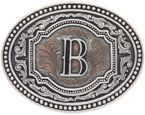 "Montana Silversmiths Men's Initial ""B"" Two-Tone Attitude Belt Buckle, Silver, hi-res"
