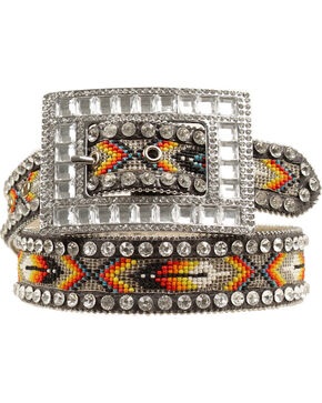 Nocona Southwest Beaded Inlay Rhinestone Belt, Multi, hi-res