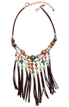 Treska Women's Santa Fe Bead & Fringe Bib Necklace , , hi-res