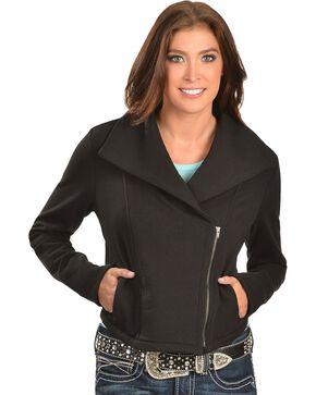 Ariat Briones Moto Black Fleece Jacket, Black, hi-res